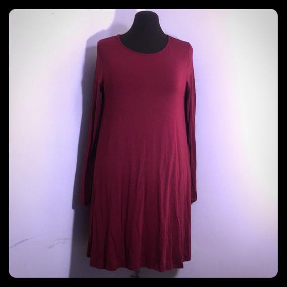 mittoshop Dresses & Skirts - MITTOSHOP Burgundy Long Sleeve Knit Trapeze Dress